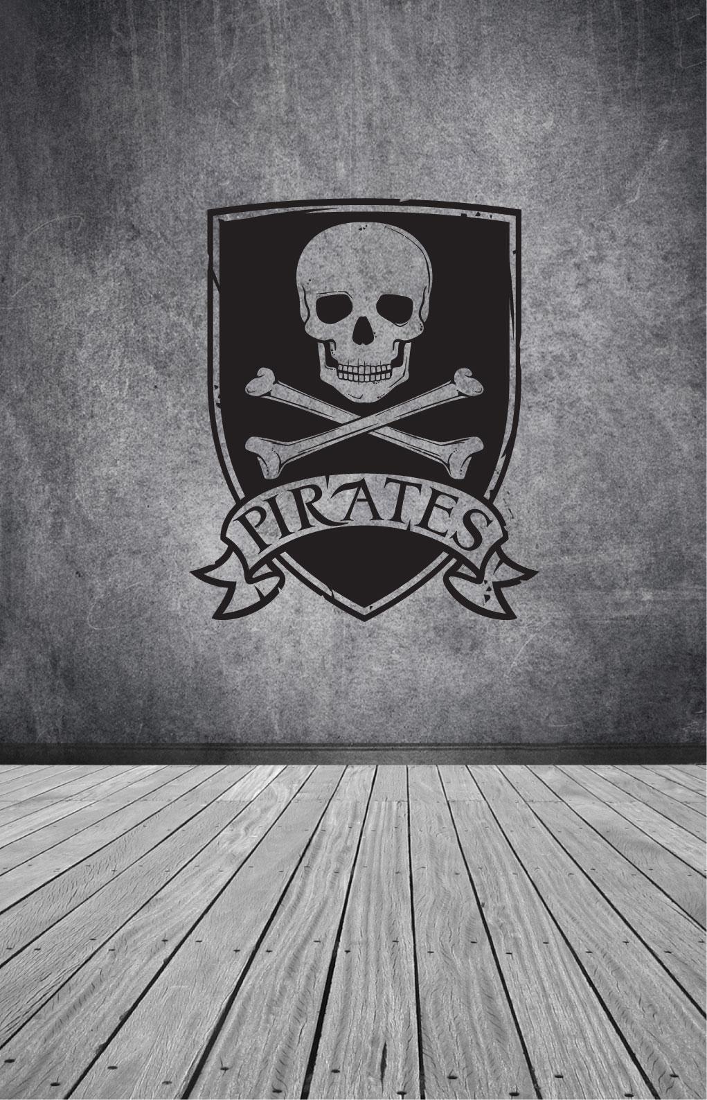 "Wandtattoo Wandaufkleber Piraten Seeräuber Totenkopf /""Pirates/"""